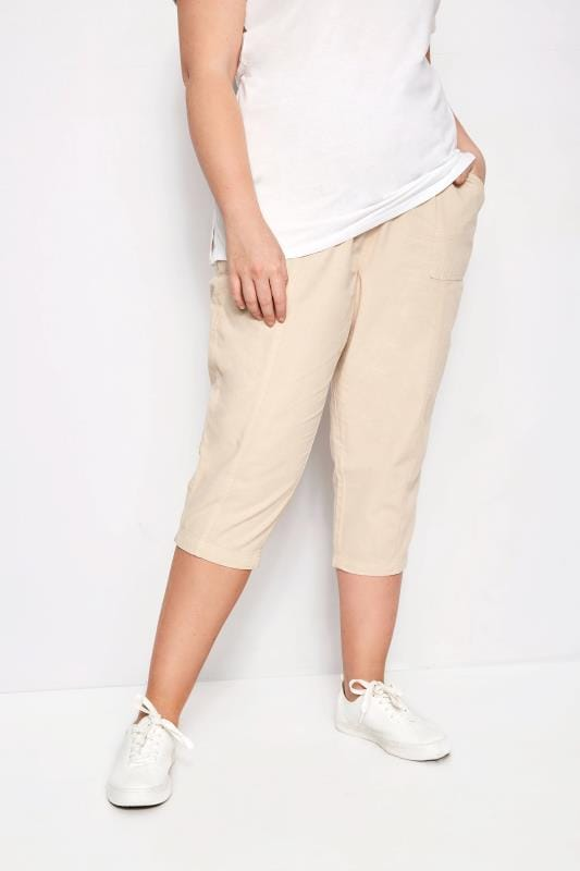 Plus Size Cropped Trousers Stone Cotton Cropped Trousers