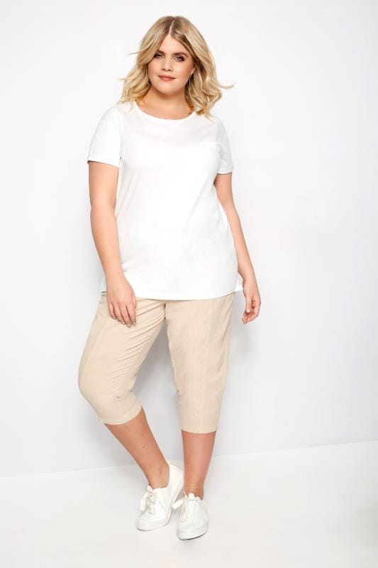 Stone Cotton Cropped Trousers
