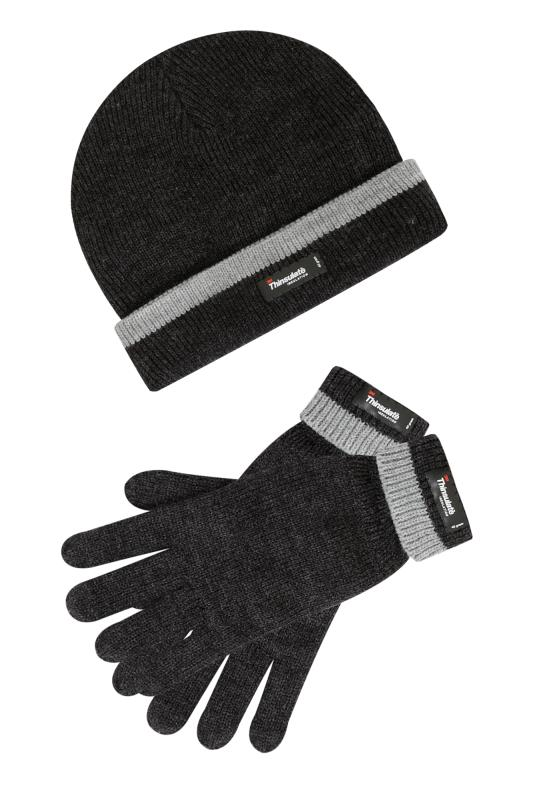 THINSULATE Grey Marl Lined Hat & Gloves
