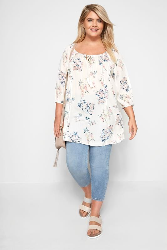 White Floral Gypsy Top