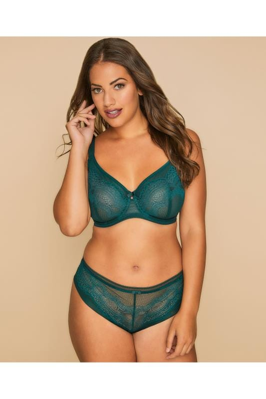 TRIUMPH Green Darling Underwired Non-Padded Lace Full Cup Bra