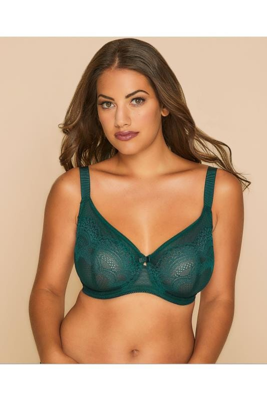 Plus Size Wired Bras TRIUMPH Green Darling Underwired Non-Padded Lace Full Cup Bra