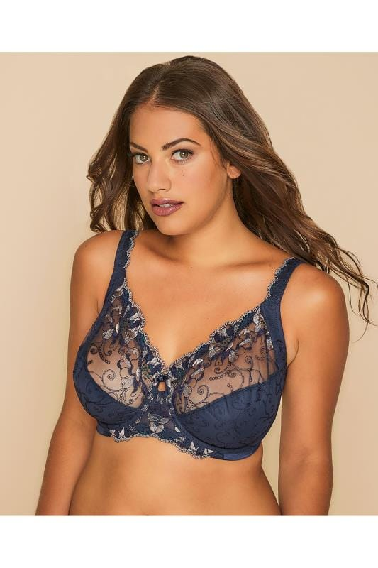 Plus Size Wired Bras TRIUMPH Navy Modern Bloom Floral Lace Full Cup Bra
