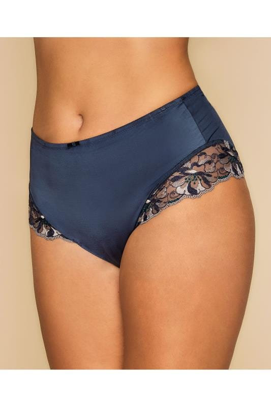 Briefs TRIUMPH Navy Sateen Floral Full Lace Briefs With Shaping Technology 138434