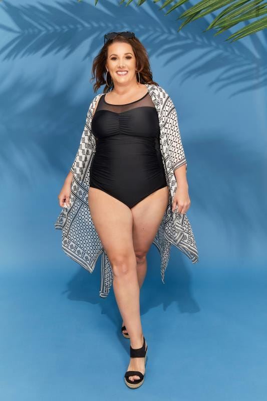 Plus Size Swimsuits Black Mesh Panel Swimsuit
