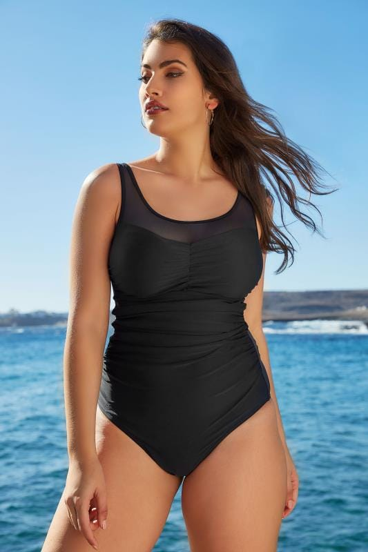 Plus Size Swimsuits TUMMY CONTROL Black Mesh Panel Swimsuit