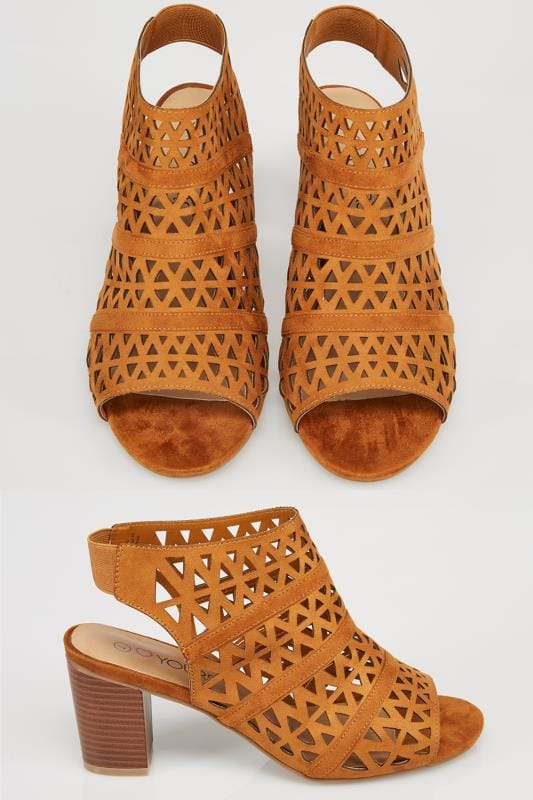 Tan Brown Laser Cut Sandals With Block Heel In True EEE Fit