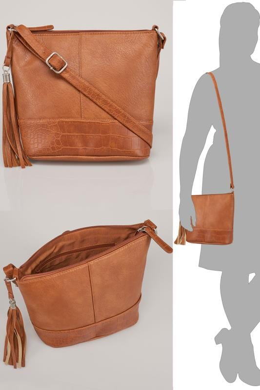 Tan Bucket Bag With Adjustable Strap With Tassel Zip