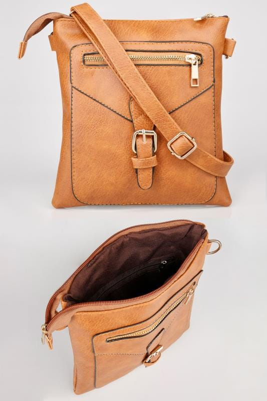 Tan Buckle Cross Body Bag