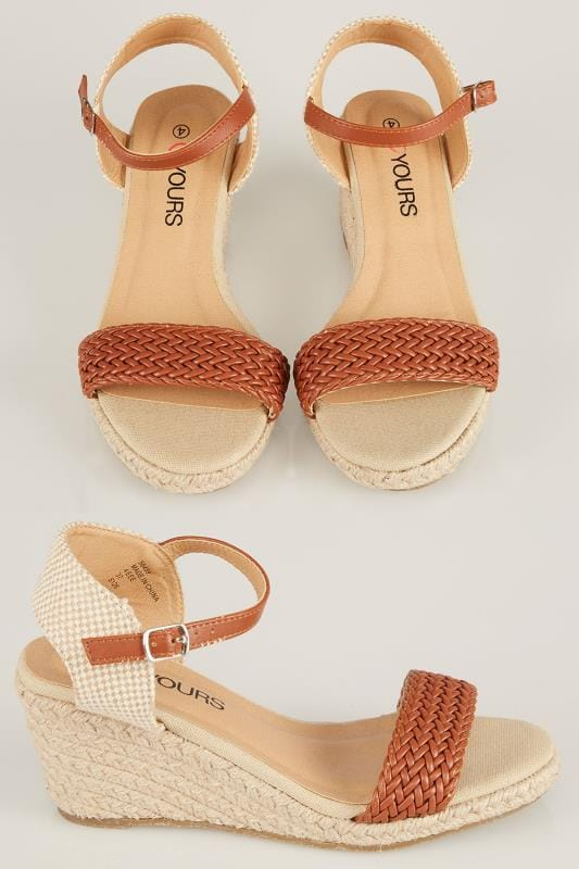 Tan Espadrille Wedge Sandal In EEE Fit