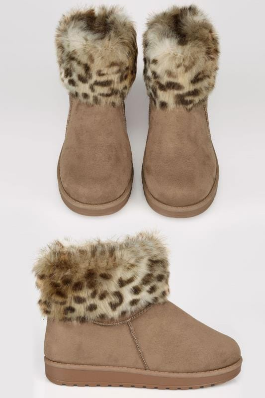 Wide Fit Boots Tan Faux Fur Trim Ankle Boots In TRUE EEE FIT