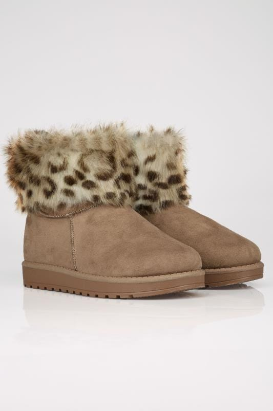 Tan Faux Fur Trim Ankle Boots In TRUE EEE FIT