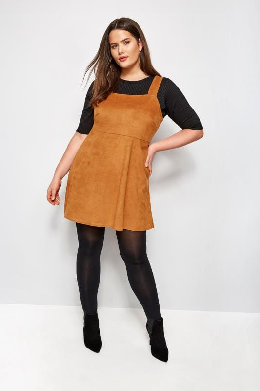 Plus Size Skater Dresses Tan Faux Suede Pinafore