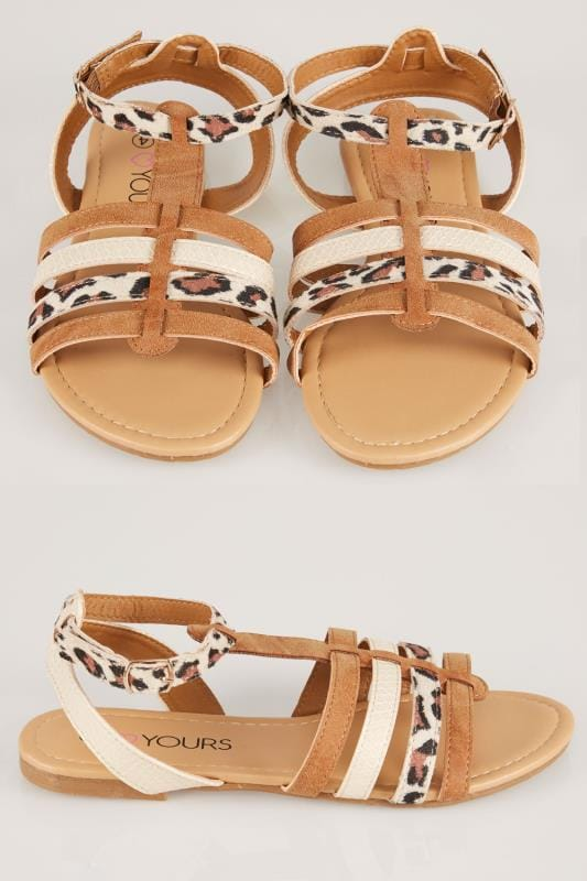Wide Fit Flat Shoes Tan & Gold Animal Print Gladiator Sandal In TRUE EEE Fit