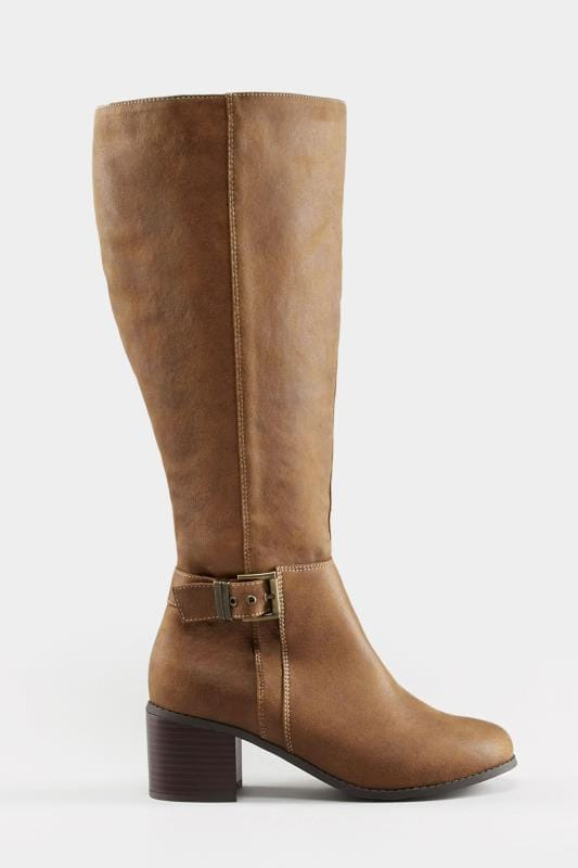 4f28961222d Plus Size Boots Tan Knee High Buckle Heeled Boots In EEE Fit