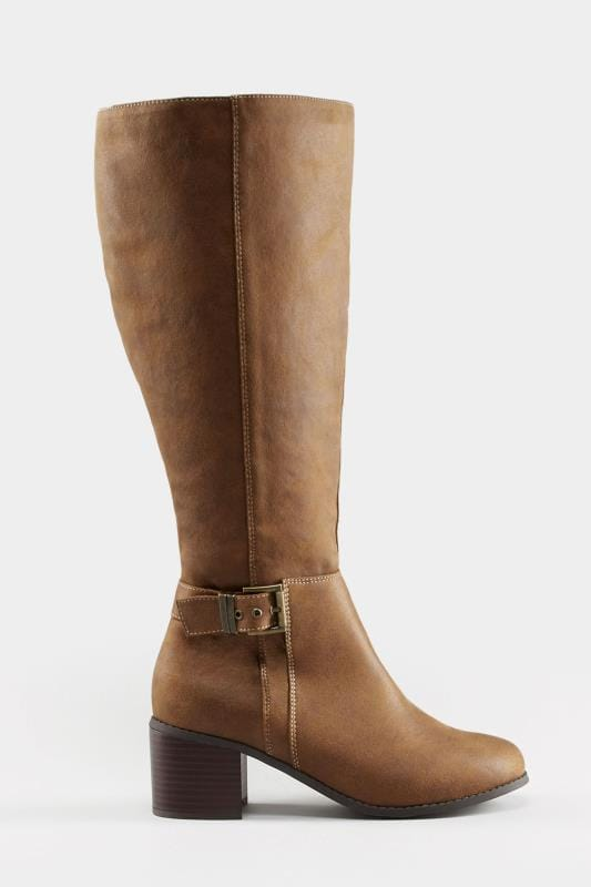 Tan Knee High Buckle Heeled Boots In EEE Fit