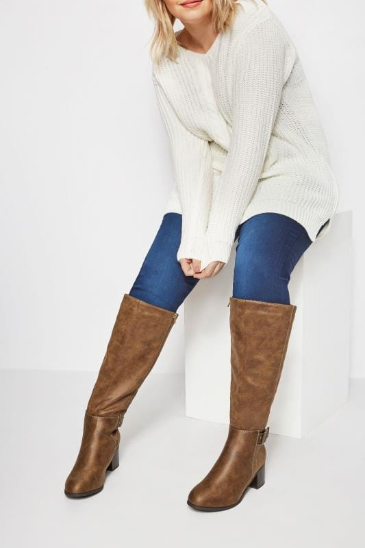 Plus Size Boots Tan Knee High Buckle Heeled Boots In EEE Fit