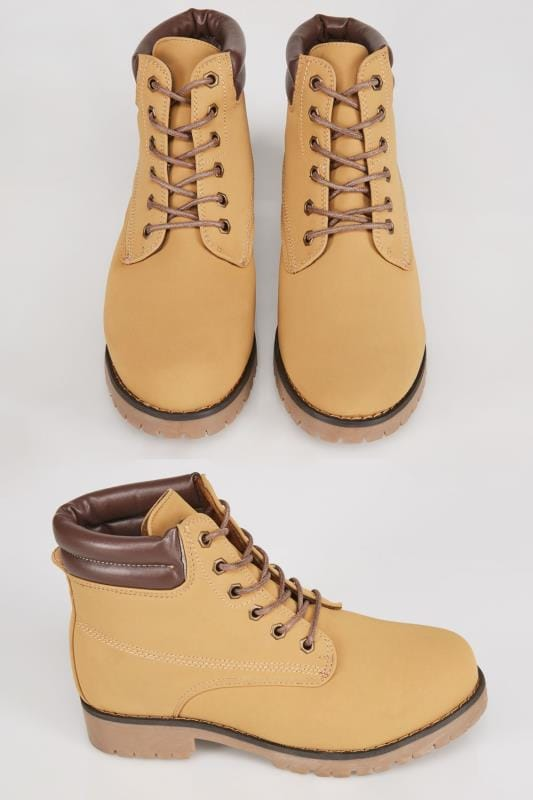 Tan Lace Up Ankle Boots In EEE Fit