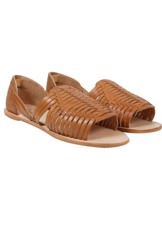 Tan Leather Huarache Open Toe Sandal In E Fit