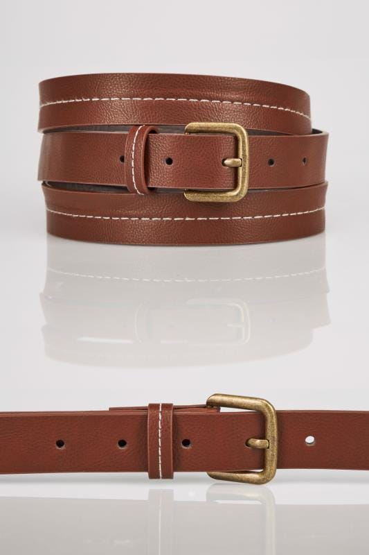 Belts Tan Stitched Belt With Pin Buckle Fastening 152479
