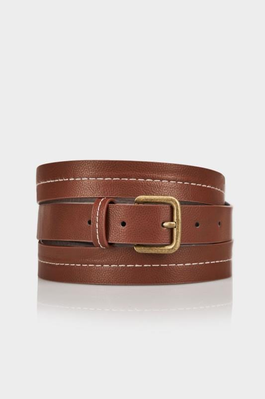 Tan Stitched Belt With Pin Buckle Fastening