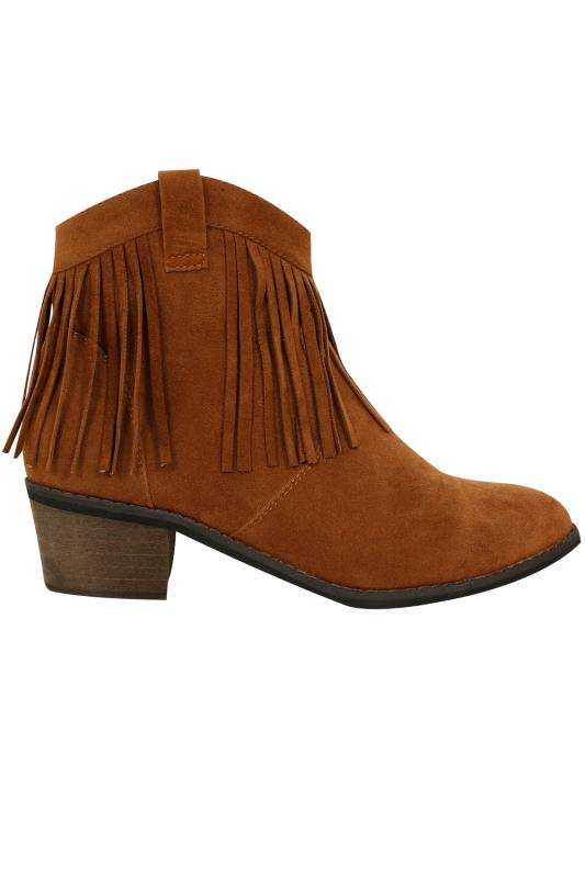 Tan Suedette Fringed Tassel Boot In E Fit