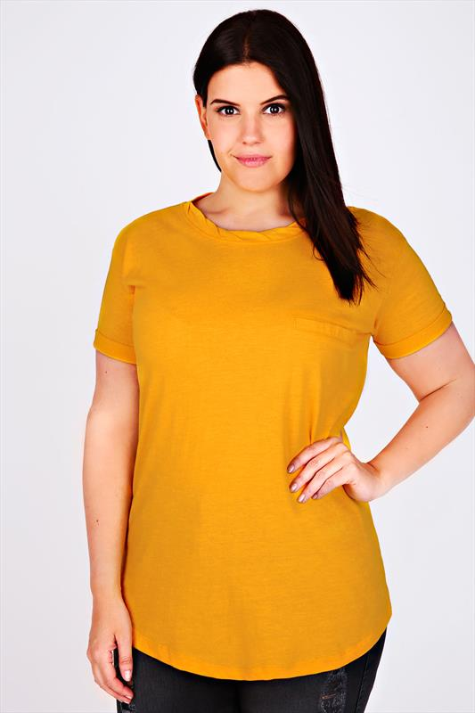 Tangerine Orange Short Sleeve Boyfriend T-Shirt With Pocket Detail