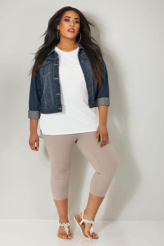 Taupe Brown Cotton Essential Cropped Leggings
