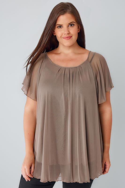 Taupe Brown Double Layered Mesh Lightweight Blouse With Angel Sleeves