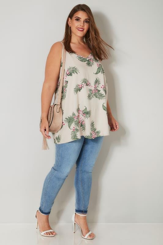 Taupe & Multi Tropical Leaf Print Woven Cami Top