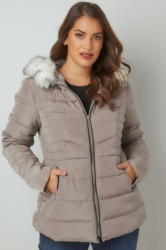 Taupe Padded Puffer Coat With Hood & Faux Fur Trim