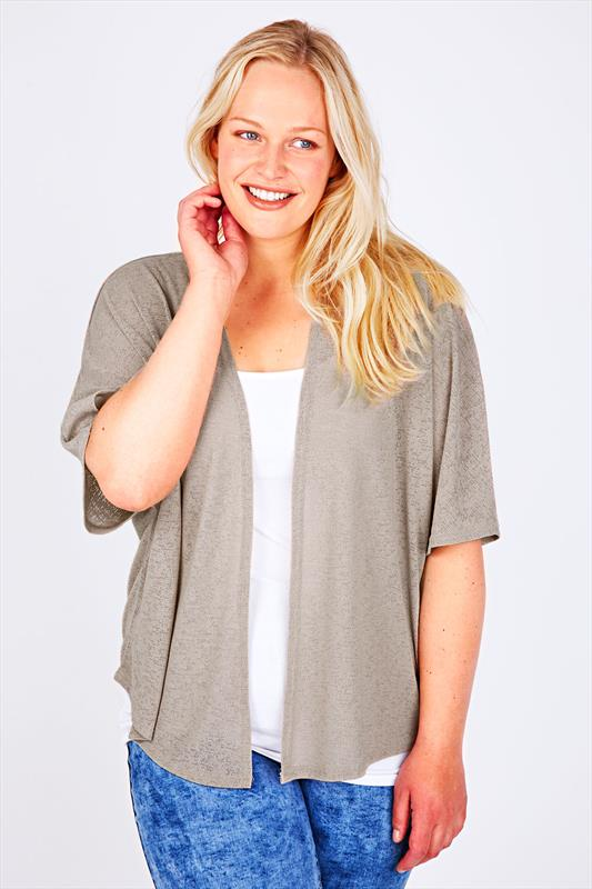 Taupe Slub Knit Shrug With Short Kimono Sleeves