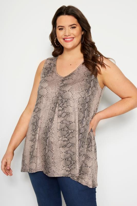 Plus Size Jersey Tops Taupe Snake Print Swing Top