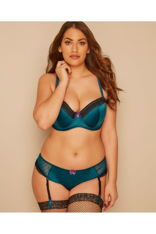 Teal & Black Lace Satin Balcony Bra