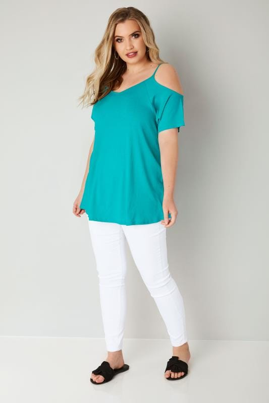 Teal Blue Cold Shoulder Jersey Top