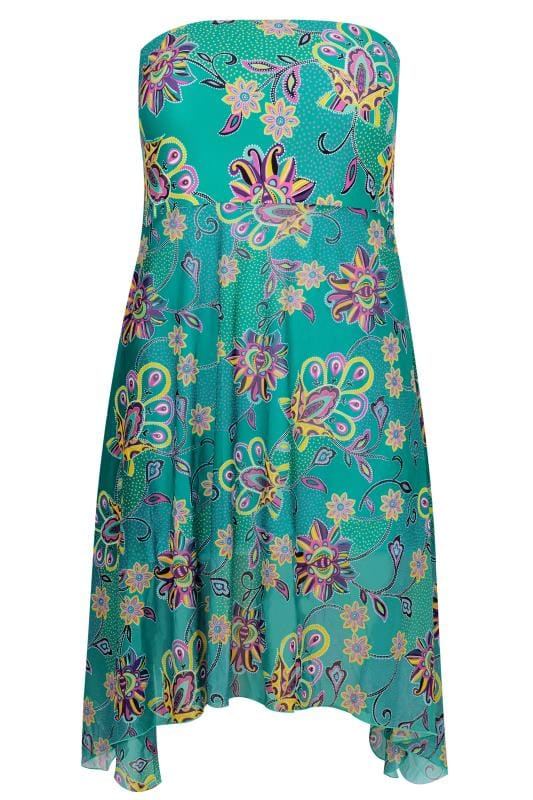 Teal Blue Floral Paisley Print Mesh Cover-Up