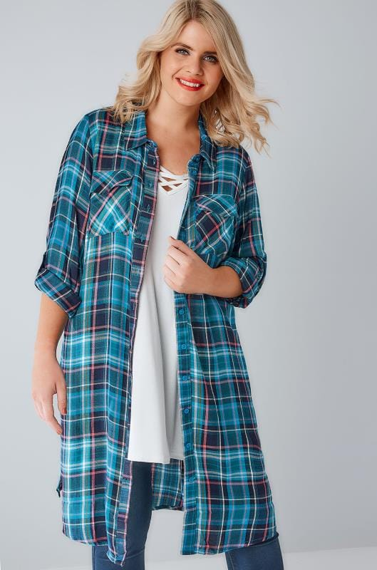Teal & Navy Check Longline Duster Shirt With Pockets