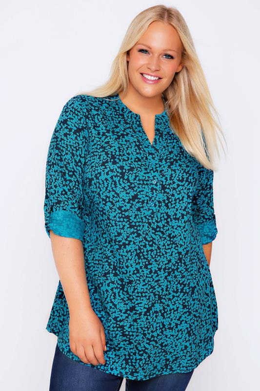 Teal & Navy Floral Print Blouse With Open Neck & Roll-Up Sleeves
