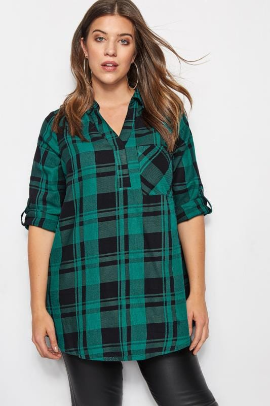 Plus Size Shirts Teal Overhead Check Shirt