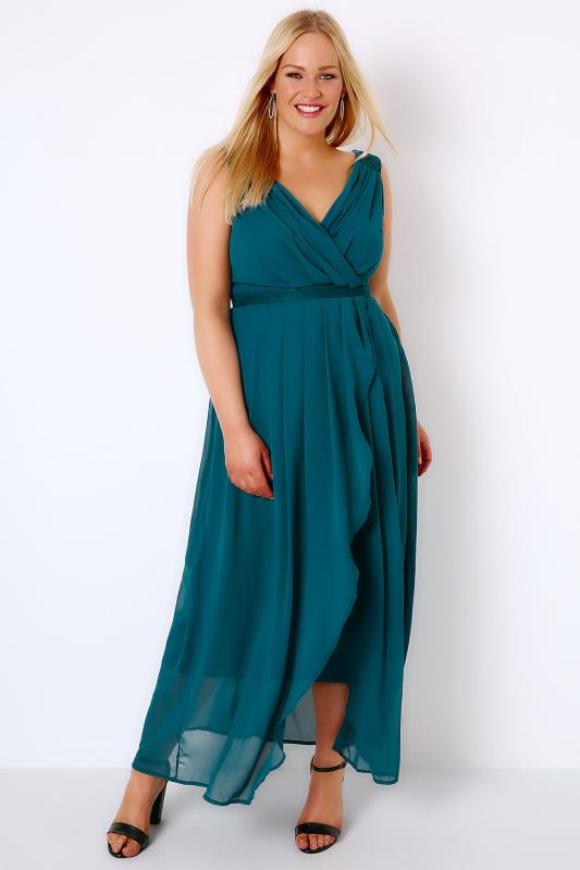Teal Ruched Chiffon Maxi Wrap Dress With Lace Detail