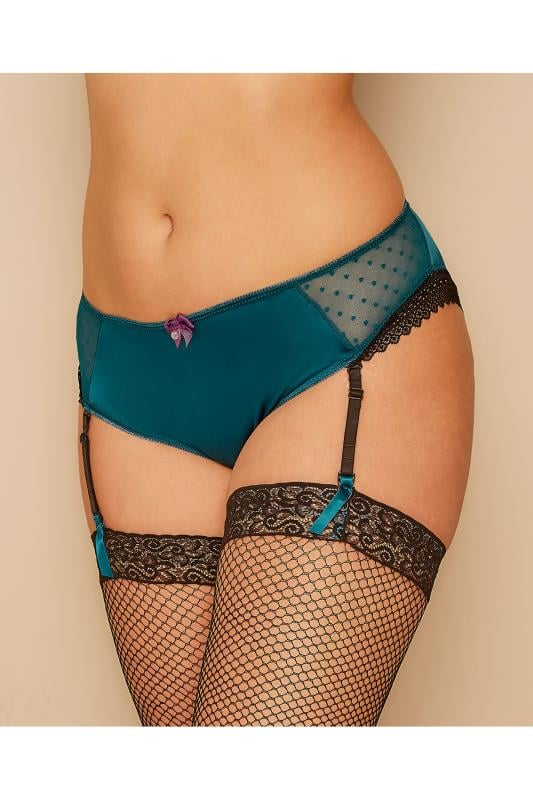 Teal Satin Briefs With Detachable Suspender