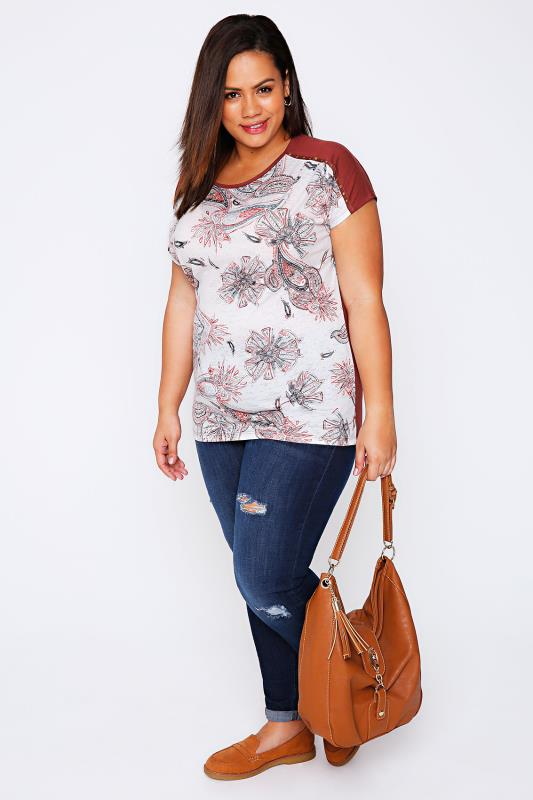 Terracotta & White Paisley Print Burnout Detail Jersey Top