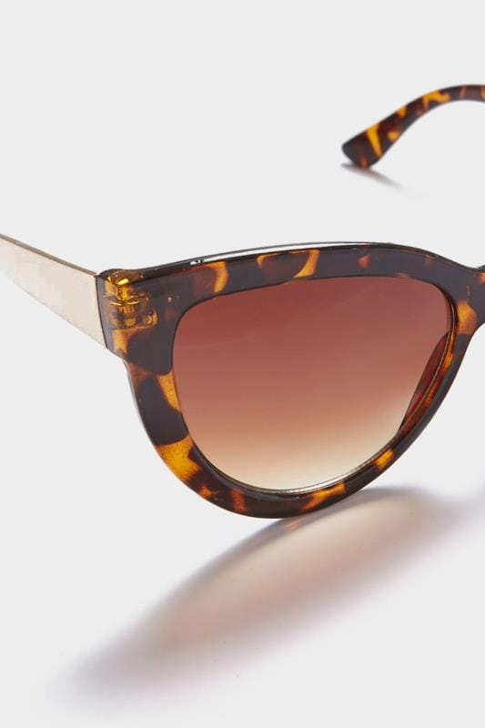 Tortoiseshell Cat Eye Sunglasses With Gold Arms & With UV 400 Protection