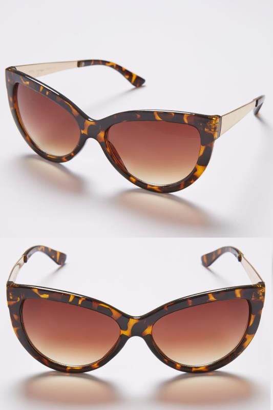 Plus Size Sunglasses Tortoiseshell Cat Eye Sunglasses With Gold Arms & With UV 400 Protection
