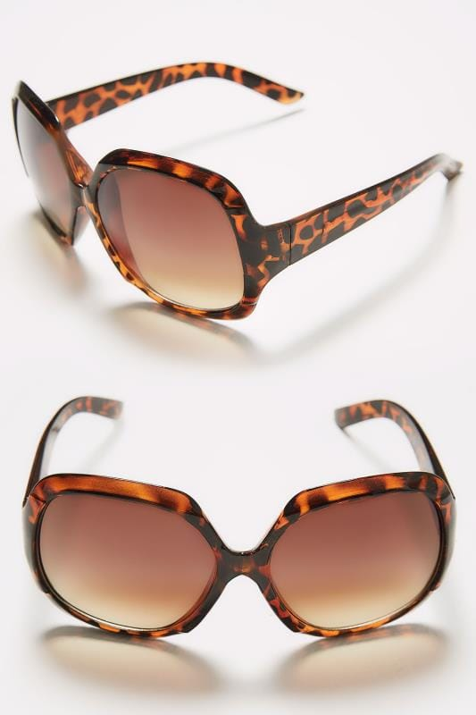 Tortoiseshell Large Square Sunglasses With UV Protection