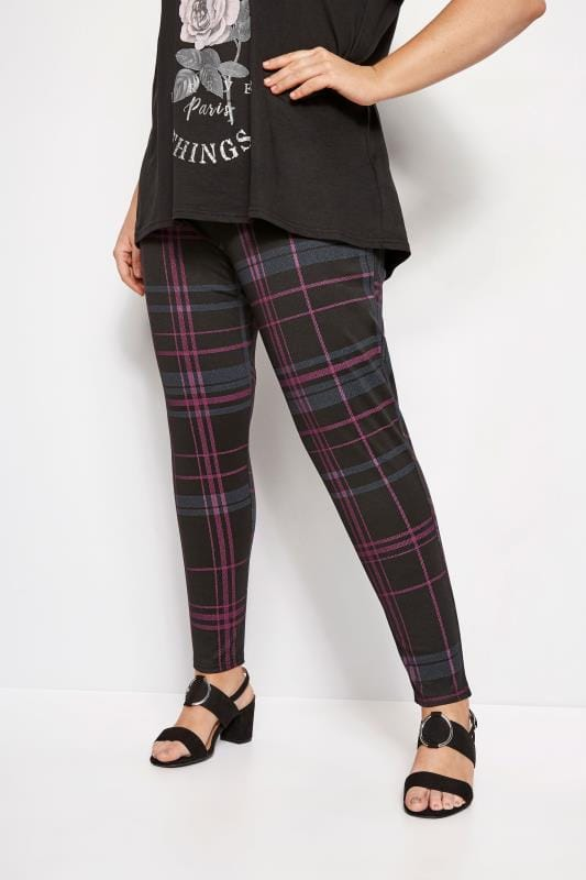 Plus Size Harem Trousers LIMITED COLLECTION Black & Pink Check Trouser