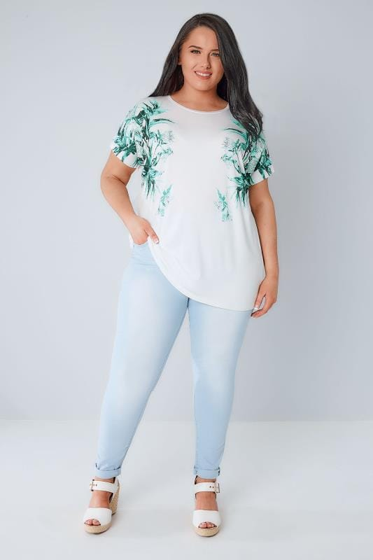 White & Green Mirror Tropical Print T-Shirt With Studded Detail