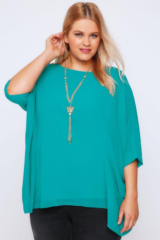 Turquoise Batwing Sleeve Chiffon Top With Necklace