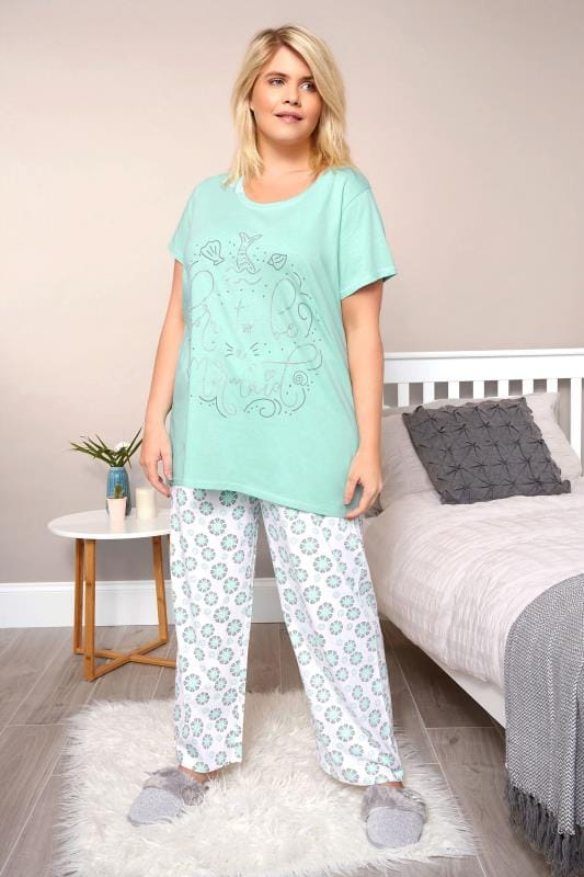 Plus Size Pyjamas Turquoise 'Born To Be A Mermaid' Pyjama Set