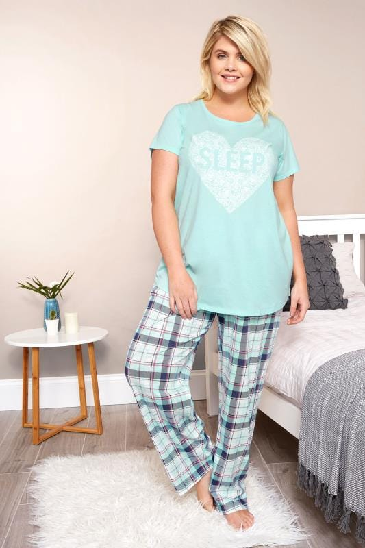 Turquoise Check Pyjama Bottoms